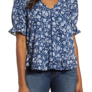 Lucky Brand Floral Print Top Size M